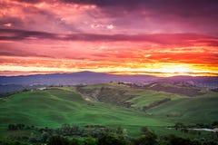 绿色领域和草甸美丽的景色日落的在托斯卡纳 免版税库存照片