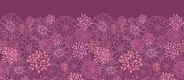 紫色领域开花水平的无缝的样式 库存照片