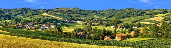 绿色风景村庄风景 免版税库存照片