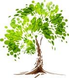 绿色风格化传染媒介树 免版税库存图片