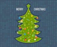 绿色风格化圣诞树 招呼新年度 免版税库存照片
