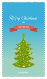 绿色风格化圣诞树 招呼新年度 库存照片