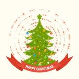 绿色风格化圣诞树 招呼新年度 库存图片