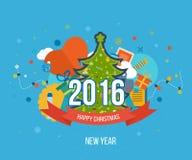 绿色风格化圣诞树 招呼新年度 图库摄影