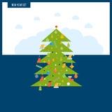 绿色风格化圣诞树 新年贺卡设计 免版税图库摄影