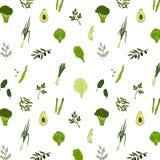 绿色食物无缝的样式 免版税库存图片