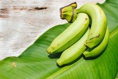 绿色香蕉和香蕉叶子背景 免版税库存照片