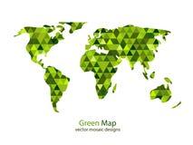 绿色马赛克世界地图 免版税库存图片