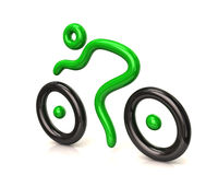 绿色骑自行车者 库存照片