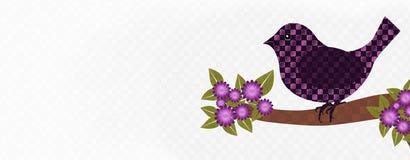 紫色鸟横幅 库存图片