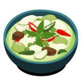 绿色鸡咖喱普遍的泰国食物 免版税库存图片