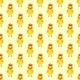 黄色鸡无缝的样式 库存例证