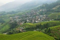 绿色龙脊露台的领域和平安队村庄看法  库存图片