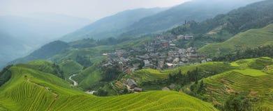 绿色龙脊露台的领域和平安队村庄看法  库存照片