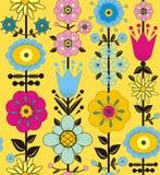 紫色,桃红色,蓝色和黄色花和叶子 免版税库存图片