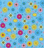 紫色,桃红色,蓝色,绿色和黄色花和叶子 免版税库存图片
