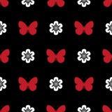 黑色,白色和红色无缝的样式蝴蝶 库存照片