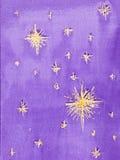 满天星斗的天空的手拉的水彩例证 向量例证