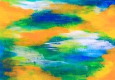 绿色,蓝色和桔子绘了纹理背景 图库摄影
