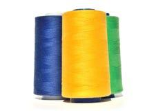 黄色,蓝色和绿色螺纹 免版税库存图片