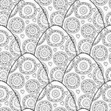 黑色,装饰鸡蛋的白色无缝的样式上色页的 向量例证