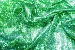 绿色,绿宝石,海波浪衣服饰物之小金属片-闪耀的闪光金属片的纺织品 免版税库存图片
