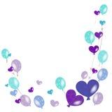 紫色,绿松石绿色气球传染媒介背景 库存图片