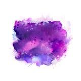 紫色,紫罗兰色,淡紫色和蓝色水彩污点 抽象艺术性的背景的明亮的色素 库存图片