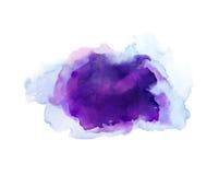 紫色,紫罗兰色,淡紫色和蓝色水彩污点 抽象艺术性的背景的明亮的色素 免版税库存照片