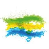 绿色,黄色和蓝色油漆飞溅在白色ba的 免版税库存图片
