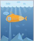 黄色水下深海探险 免版税图库摄影