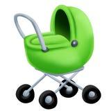 绿色婴儿推车 免版税库存照片
