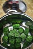 绿色结冰的菠菜 免版税库存照片