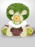 绿色头发Teddybear 库存照片