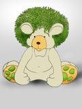 绿色头发Teddybear 免版税图库摄影