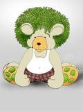 绿色头发Teddybear 免版税库存照片