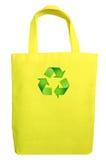 黄色织品eco回收袋子 库存照片