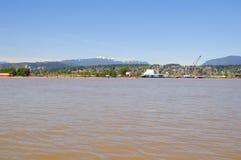 黄色水在一条河春天 免版税库存照片