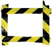 黄色黑小心警告磁带通知标志框架,水平 免版税库存照片