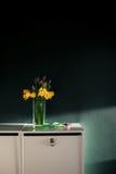 黄色黄水仙开花与开花在有绿色墙壁下个邪恶的篮子的花瓶的紫色郁金香在白色架子 免版税图库摄影