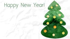 绿色水彩圣诞树卡片 免版税库存照片