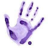 紫色水彩手印刷品 库存照片