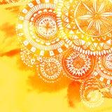 黄色水彩油漆背景用白色手 免版税库存照片