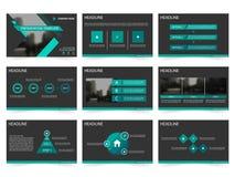绿色黑抽象介绍模板, Infographic元素模板平的设计为年终报告小册子飞行物设置了 向量例证