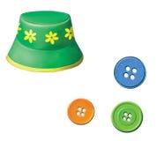 有花的绿色婴孩巴拿马草帽。 Colorfull按钮 库存照片
