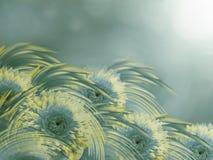 黄色绿松石大丽花在晴朗的被弄脏的朦胧的背景开花 花卉明亮的构成 节假日的看板卡 免版税库存照片