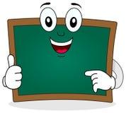 绿色黑板微笑的字符 免版税库存图片