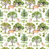 绿色结构树 停放,与森林动物-鹿,兔子,羚羊的森林样式 无缝的背景 水彩样式 免版税库存图片