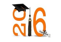 黑色2016年毕业盖帽和缨子 免版税库存照片