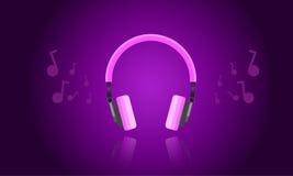 紫色轻的耳机传染媒介 免版税库存图片